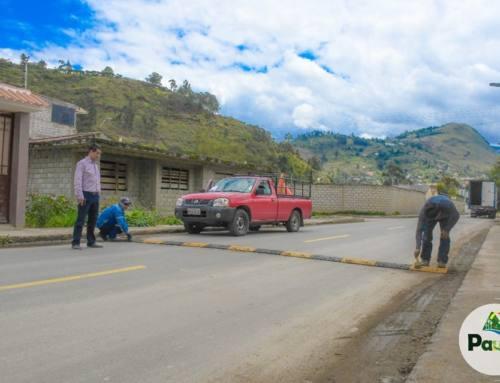 colocación de reductores de velocidad en la calle Luntur y el sector de Cachiyacu